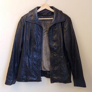 Vintage Black Leather Fur Lined Zip Up Jacket